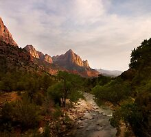 Virgin River and The Watchman at sunset. by Alex Preiss