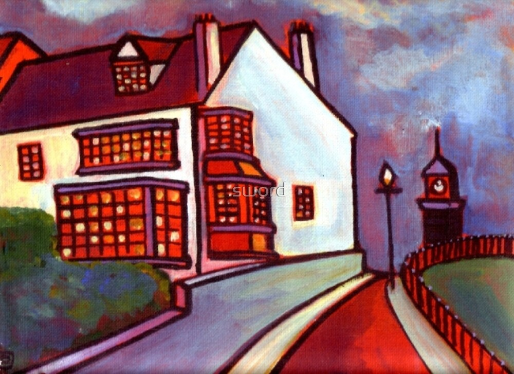House on the hill (from my original acrylic painting) by sword