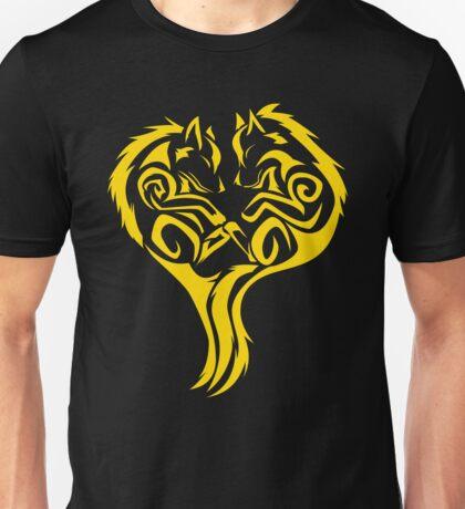 Tribal Wolves Heart - version 3 - gold Unisex T-Shirt