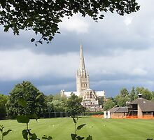 Norwich Cathedral before a storm in colour by photoblind