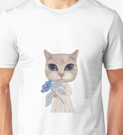 a cat with a blue flower on white Unisex T-Shirt