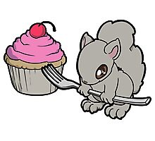 Little Squirrel with a Cupcake Photographic Print