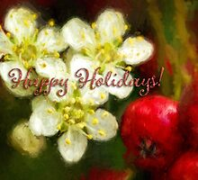 Pyracantha holiday card by Celeste Mookherjee