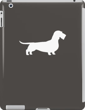 Wire Haired Dachshund White Silhouette(s) by Jenn Inashvili