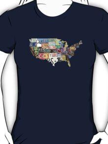 USA vintage license plates map T-Shirt
