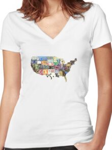 USA vintage license plates map Women's Fitted V-Neck T-Shirt