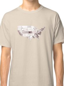 USA vintage license plates map Classic T-Shirt