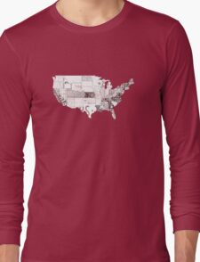 USA vintage license plates map Long Sleeve T-Shirt