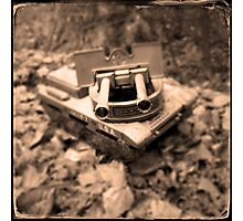 Toy Tank in Forest Photographic Print