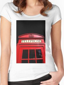 Red London Telephone Box Women's Fitted Scoop T-Shirt