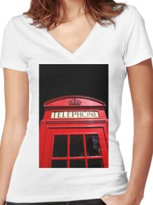 Red London Telephone Box Women's Fitted V-Neck T-Shirt