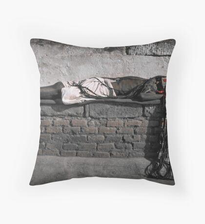 Sleeping Sadhu Throw Pillow