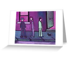 3 Men and a cat (from my original acrylic painting) digitally enhanced) Greeting Card