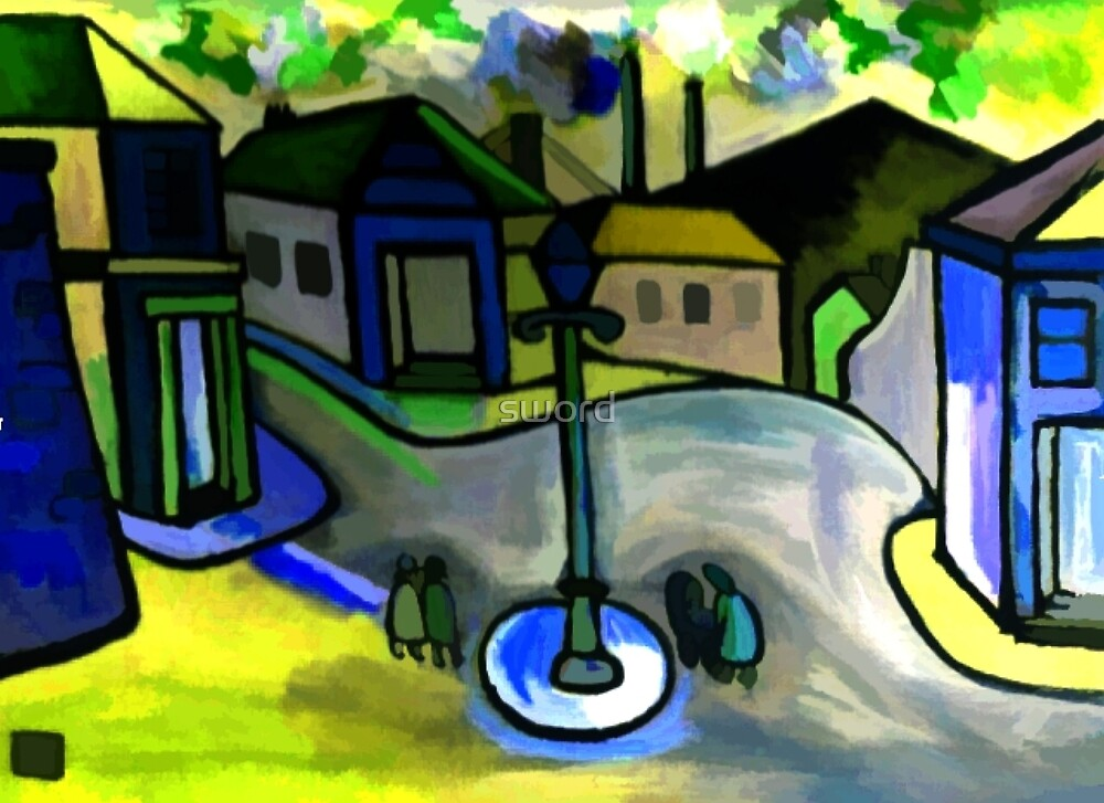 The big lamp (from my original acrylic painting) digitally enhanced) by sword