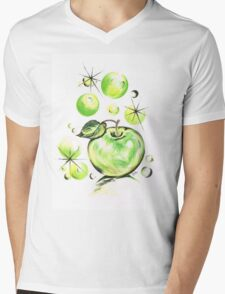 Apple with Soapy Bubbles Mens V-Neck T-Shirt