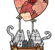 Kitty love balloon by Corrie Kuipers