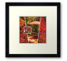 Autumn Maple Leaves Umbrella Kyoto Japan Framed Print