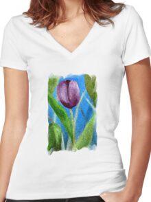 Sponge Tulip Magenta Women's Fitted V-Neck T-Shirt