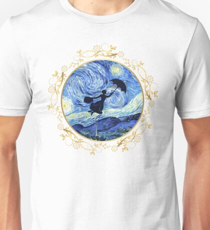 Mary Poppins Starry Night - Golden Floral Frame Unisex T-Shirt