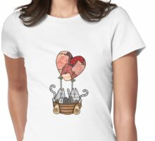 Kitty Love Balloon Womens Fitted T-Shirt