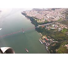 Flight. view to Lisbon bridge and highway to the south. Photographic Print