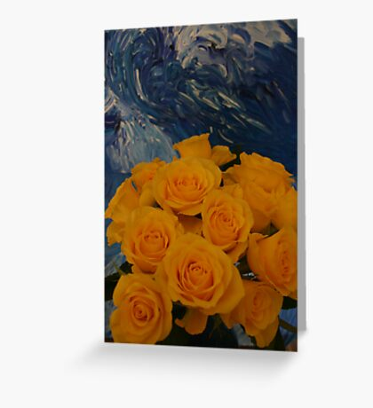 Red, red roses, awash in a sea of green Greeting Card