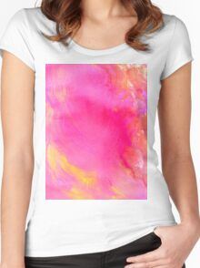 Pink Painted Background Women's Fitted Scoop T-Shirt