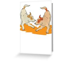 Two heeler pups playing tag Greeting Card