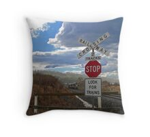 Watch For Trains Throw Pillow