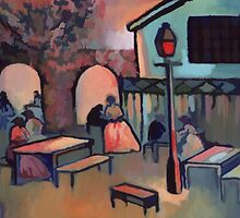 Tea garden at dusk (from my original acrylic painting) digitally enhanced) by sword