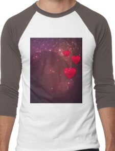 Background with red heart 2 Men's Baseball ¾ T-Shirt