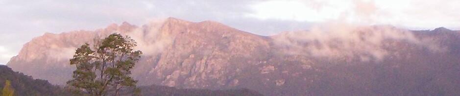 dusk glow on Mt Murchison, Rosebery, Tasmania by gaylene