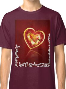 Card with wedding rings in heart Classic T-Shirt