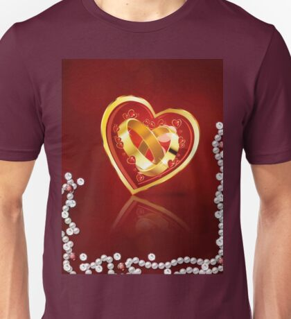 Card with wedding rings in heart Unisex T-Shirt