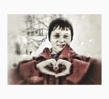 hand heart in the snow Kids Clothes