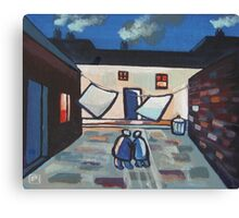 The backyard (from my original acrylic painting ) Canvas Print