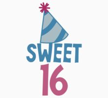 Sweet 16 Birthday design with hat by jazzydevil