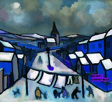 A merry christmas card showing a county durham village winter scene from my original acrylic painting digitally enhanced by sword