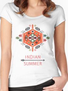 Pattern in native american style Women's Fitted Scoop T-Shirt