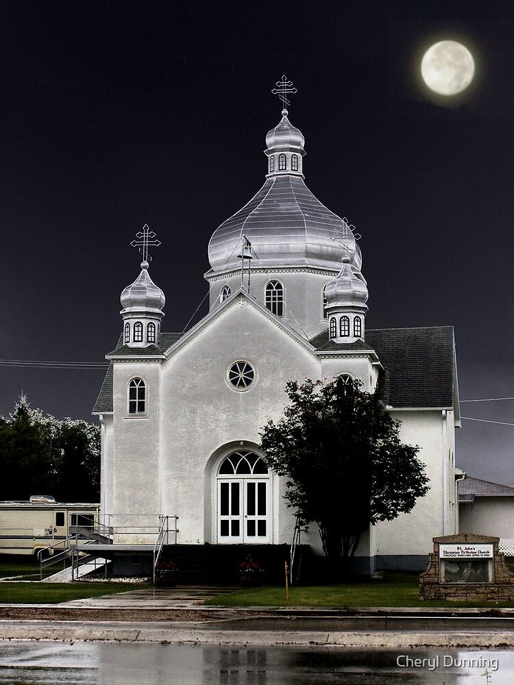 roblin church in the rain by Cheryl Dunning