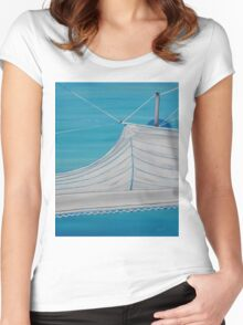 Sailboat sail Amel 4 Oil on Canvas Painting Women's Fitted Scoop T-Shirt