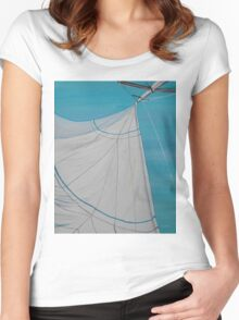 Sailboat sail Amel 2 Oil on Canvas Painting Women's Fitted Scoop T-Shirt