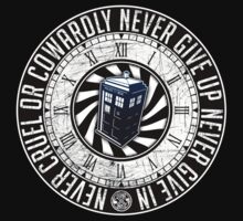 Never Cruel Or Cowardly - Doctor Who - TARDIS Clock One Piece - Long Sleeve