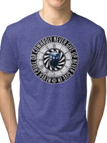Never Cruel Or Cowardly - Doctor Who - TARDIS Clock Tri-blend T-Shirt