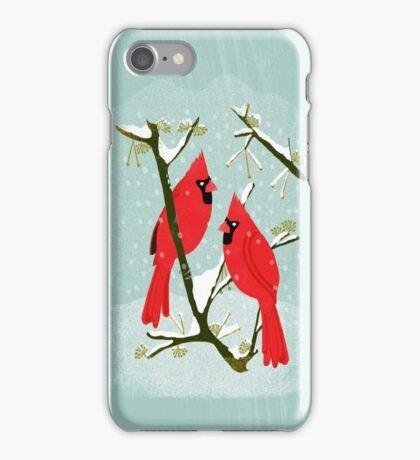 Winter Cardinals by Andrea Lauren  iPhone Case/Skin
