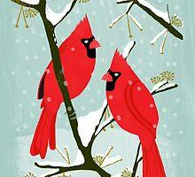 Winter Cardinals by Andrea Lauren  by Andrea Lauren