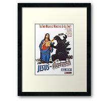 Jesus vs. Godzilla  Framed Print