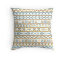 Aztec Influence Pattern II Blue and Gold on White Throw Pillow