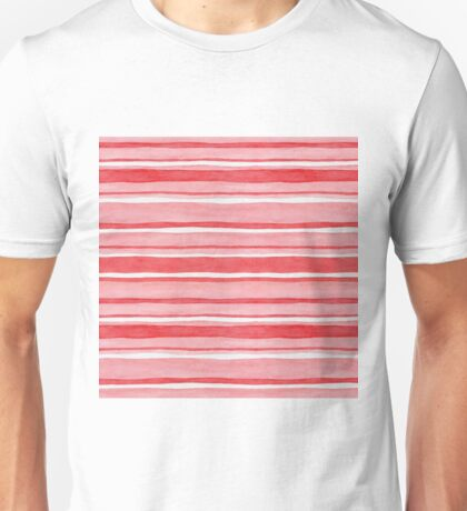 Pretty stripes in red, pink and white, watercolour painting Unisex T-Shirt