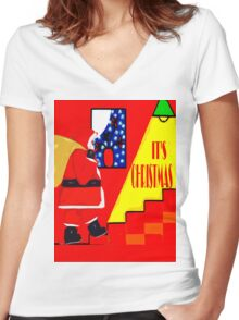 IT'S CHRISTMAS Women's Fitted V-Neck T-Shirt